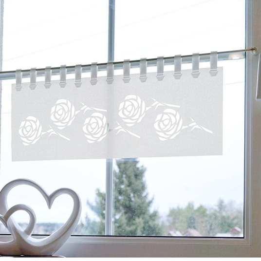 Variante Direktcut mit Loop-Strap oben - Kurzgardine Lasercut 60 cm breit