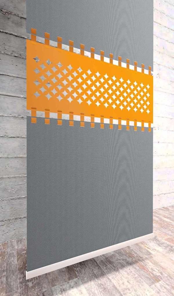 Moderner Flächenvorhang Lasercut Loop-Strap Mustereinsatz-Berlin
