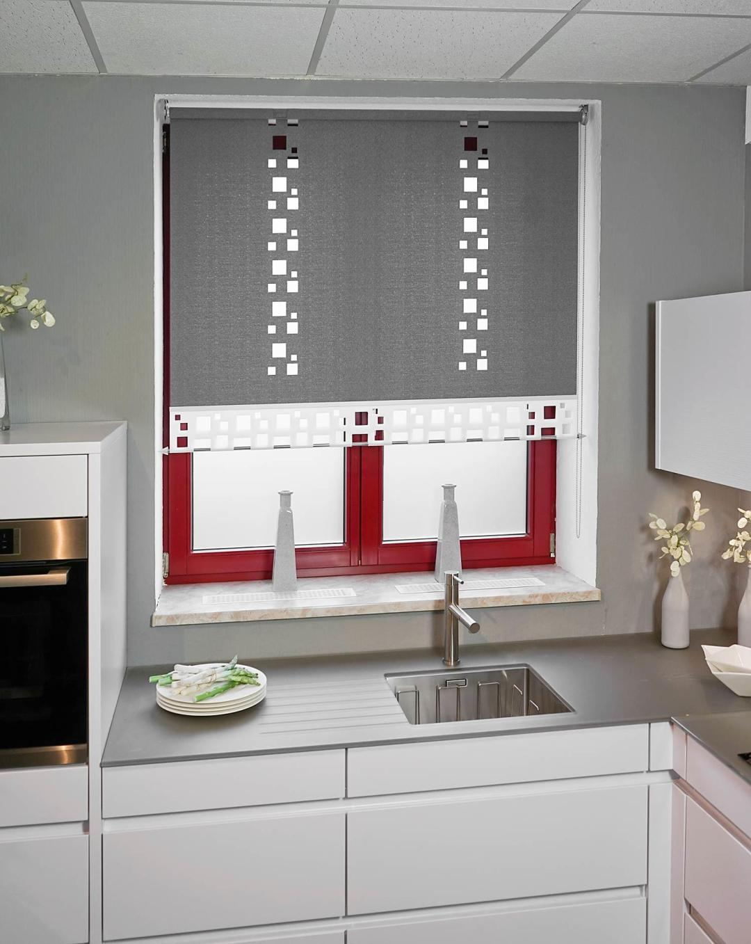 Möbelhaus Hierold Flächenvorhang Lasercut Rollo Basis Kombi-Cut-Abschluss Muster PER Basistextil JOPLIN flint Mustertextil JOPLIN Farbe White