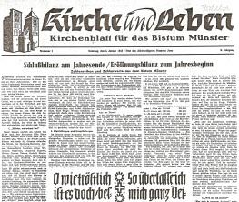 Die erste Seite der im Pfarrarchiv   vorliegenden ersten Ausgabe der   Kirchenzeitung von 1953