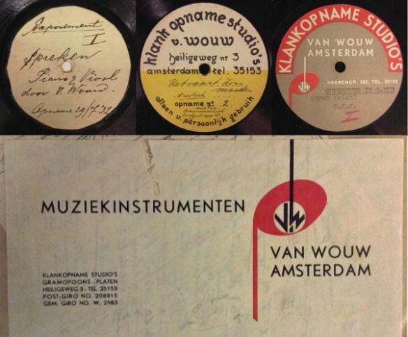Labels van klankopnamestudio Van Wouw, vlnr: 1932, 1934 en 1935, daaronder het briefpapier.