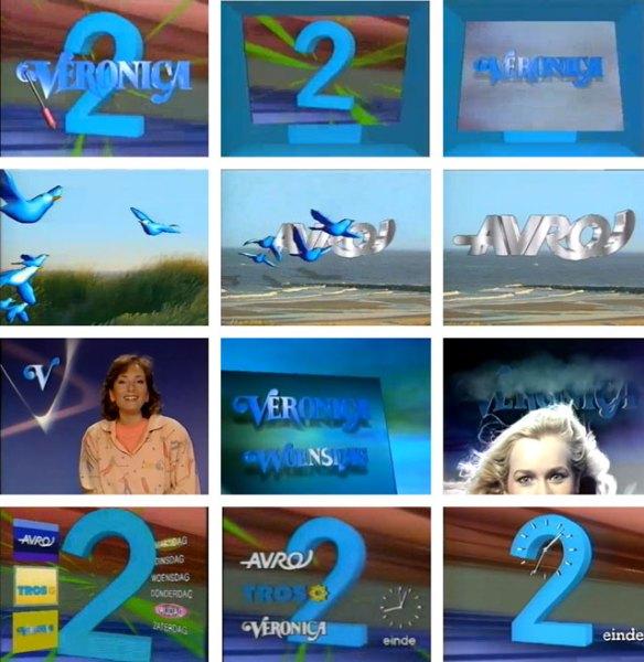 Op Nederland 2 is de blauwe twee regelmatig in beeld. De vormgeving van Veronica en AVRO bestaat uit veel blauw en glimmende 3D animaties