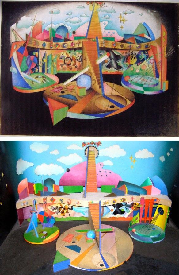 Van boven naar beneden: decortekening, maquette en kleurendia van het decor voor Barend is weer bezig! (VPRO, 1972) van Freek Biesiot. Collectie: Nederlands Instituut voor Beeld en Geluid