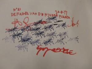 Gestempelde mieren en de signaturen van de medewerkers aan