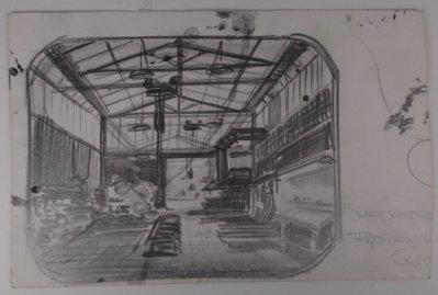 Schetsontwerp fabriekshal Collectie Beeld en Geluid