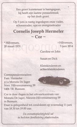 5-6-2014 Cor Hermeler overleden