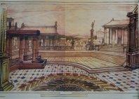Decorontwerp 1-2-3 show: Het Romeinse Rijk (KRO, 27-11-1984), decor Roland de Groot. Collectie Roland de Groot