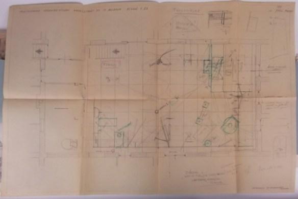 Plattegrond voor 4-11-1952, Peter Zwart moet woekeren met de ruimte. Collectie Beeld en Geluid/Peter Zwart