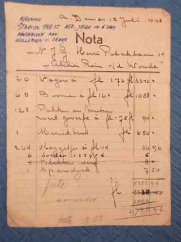Dit kostte de inrichting van het Olypisch stadion voor een feest van de Nederlandse Jeugd Gemeenschap in 1948 dus.
