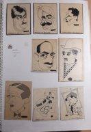 Vlnr: Maharaja van Kasmir, Maharaja van Bikanir, Oswals Mosley (Engelse fascist), Gandhi (naar de Cor de Wit), Polak (vader van Lida), Charlie Chaplin, René Clair, Harold Lloyd, Maurice Chevalier