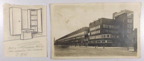 Een ontwerp van Grijzen voor een meubel in een woning aan de Jan van Galenstraat Amsterdam van architect H.Th. Wijdeveld. In het gebouw aan de Van Galen straat rechts is volgens het opschrift achterop de atelierwoning van Wijdeveld, het atelier van Grijzen, op de 4e etage Bert Nienhuis en op de 3e etage Henk Kerstina. De totale huur is 55 gulden voor 1927-1928.