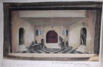 Decorontwerp voor Het huis van Bernada Alba van Garcia Lorca onder regie van Guus Defresne, 1954
