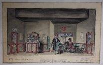 Decorontwerp voor het eerste bedrijf van Anna Christie, 1954. De achterwand van het schip staat klaar achter de wand van de bar.