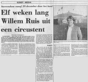 Knipsel Sterrenshow (VARA 1984-1986), decor: Hub Berkers. Collectie Hub Berkers / NIBG