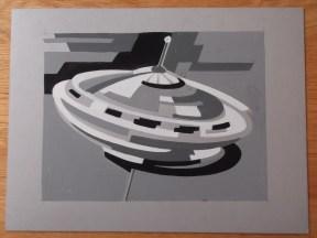 Titelkaart met illustratie van Jan van der Does van een draaitol of vliegende schotel? Collectie Jan van der Does