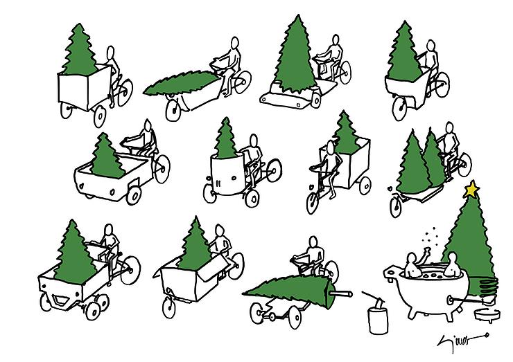 Christbäume auf Cargobikes Illustration von Sjoerd van Roijen.