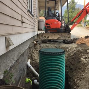 Install corrugated sump system to appropriate grades and install footing and rain leader system