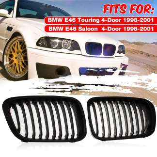 2Pcs Matte Black Car Front Bumper Kidney M Sport Grille Racing Grill For BMW E46 Touring E46 Saloon 4-Door 1998 1999 2000 2001