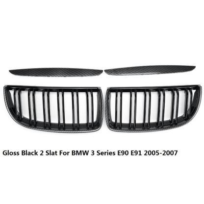 4PC/SET Pair Car Matt Gloss Black style Front Kidney Double Slat Grille Set For BMW E90 E91 2005 2006 2007 2008 Racing Grills