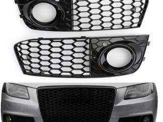 For Audi A4 B8 RS4 2009 2010 2011 2012 Honeycomb Mesh Fog Light Open Vent A4 Grille Intake Cover 8KD807682 Foglight Holder Grill