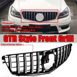 W204 Chrome Silver GT R For AMG Style Car Front Bumper Grill Grille For Mercedes For Benz C-Class W204 C200 C300 2008-2014