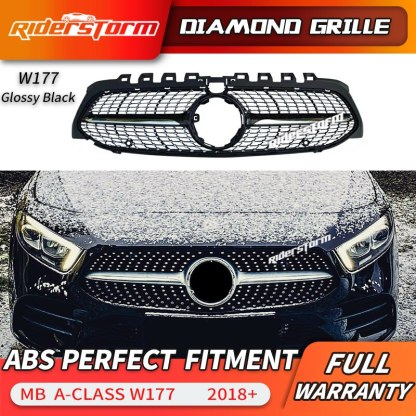 2019 New A Class W177 Amg diamond Grille Front Bumper Racing Car Styling For mercedez benz A200 Sports Sedan front grill