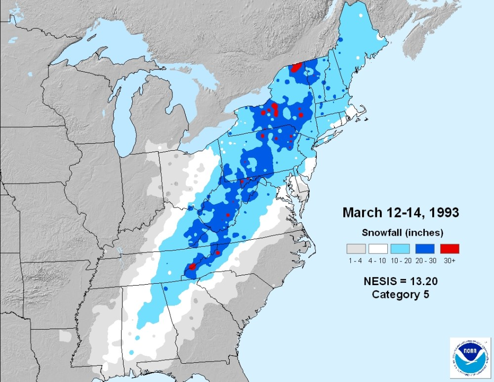 A March nor'easter and its wet snow (1/6)