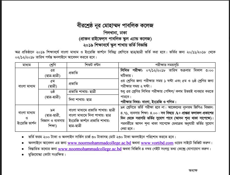 Bir Shreshtha Noor Mohammad Public College Admission Notice 2019