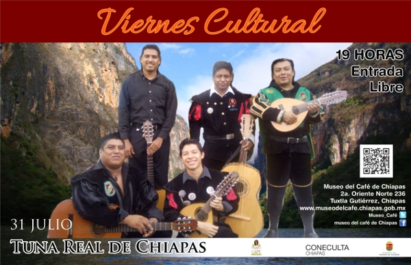 La Rondalla Tuna Real de Chiapas en Viernes Cultural del Museo del Café