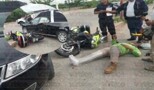 Carroza fúnebre atropella paramédico motorizado y termina con una fractura