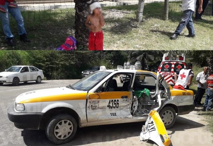 Encontronazo en Tuxtla deja tres heridos