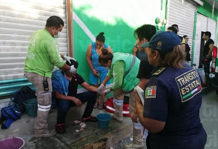 Joven recibe cachazo durante asalto en Tuxtla