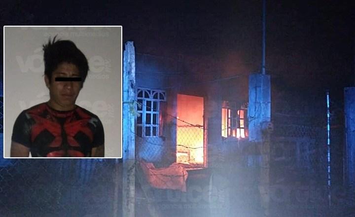 Golpeó a su esposa e incendió su casa en Tuxtla