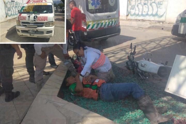 Acelerado colectivero le fracturó la pierna a un motociclista