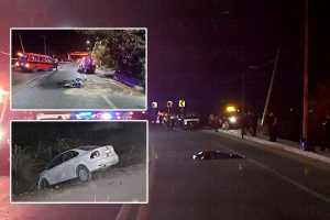 Muere motociclista tras accidente y auto se va al barranco por esquivarlo