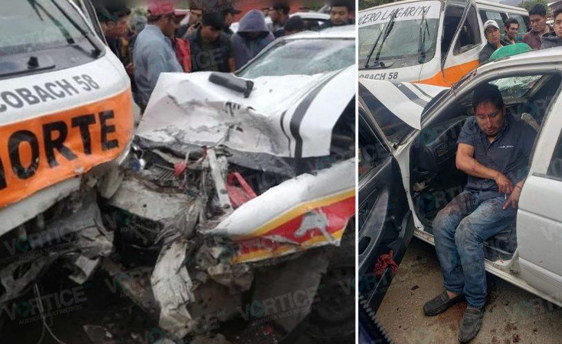 Grave taxista tras violento choque contra un colectivo en San Cristóbal