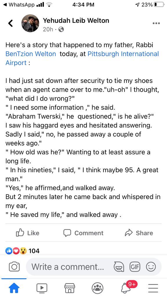 Airport Security Officer Tells Jewish Traveler Rabbi Twerski Saved His Life 2