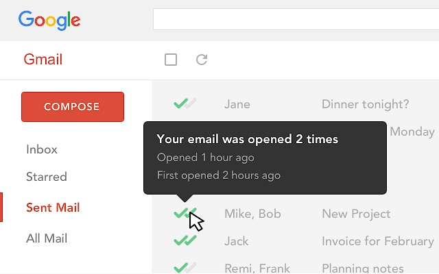 mail tracking for gmail google chrome