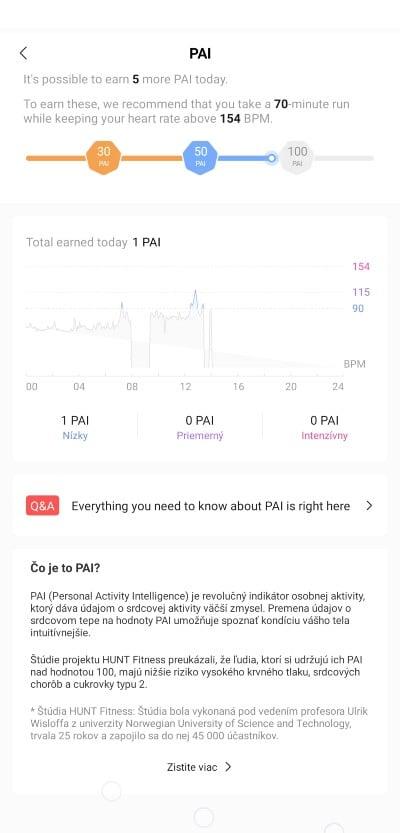 Amazfit GTS_Pai indikator