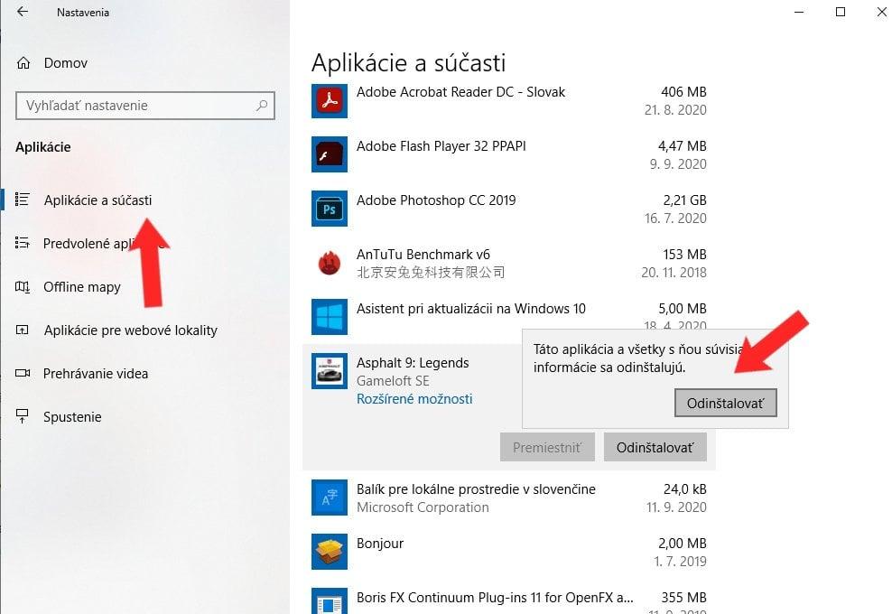 Windows 10_odinstalovanie nepotrebnych programov
