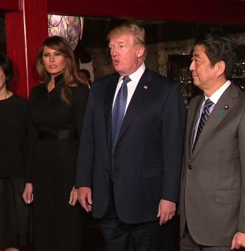 President Trump and The First Lady Have Dinner with Prime Minster Abe and Mrs. Akie Abe
