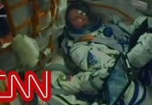 Astronauts react inside rocket during emergency landing