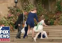 Royal children battle wind at Princess Eugenie's wedding