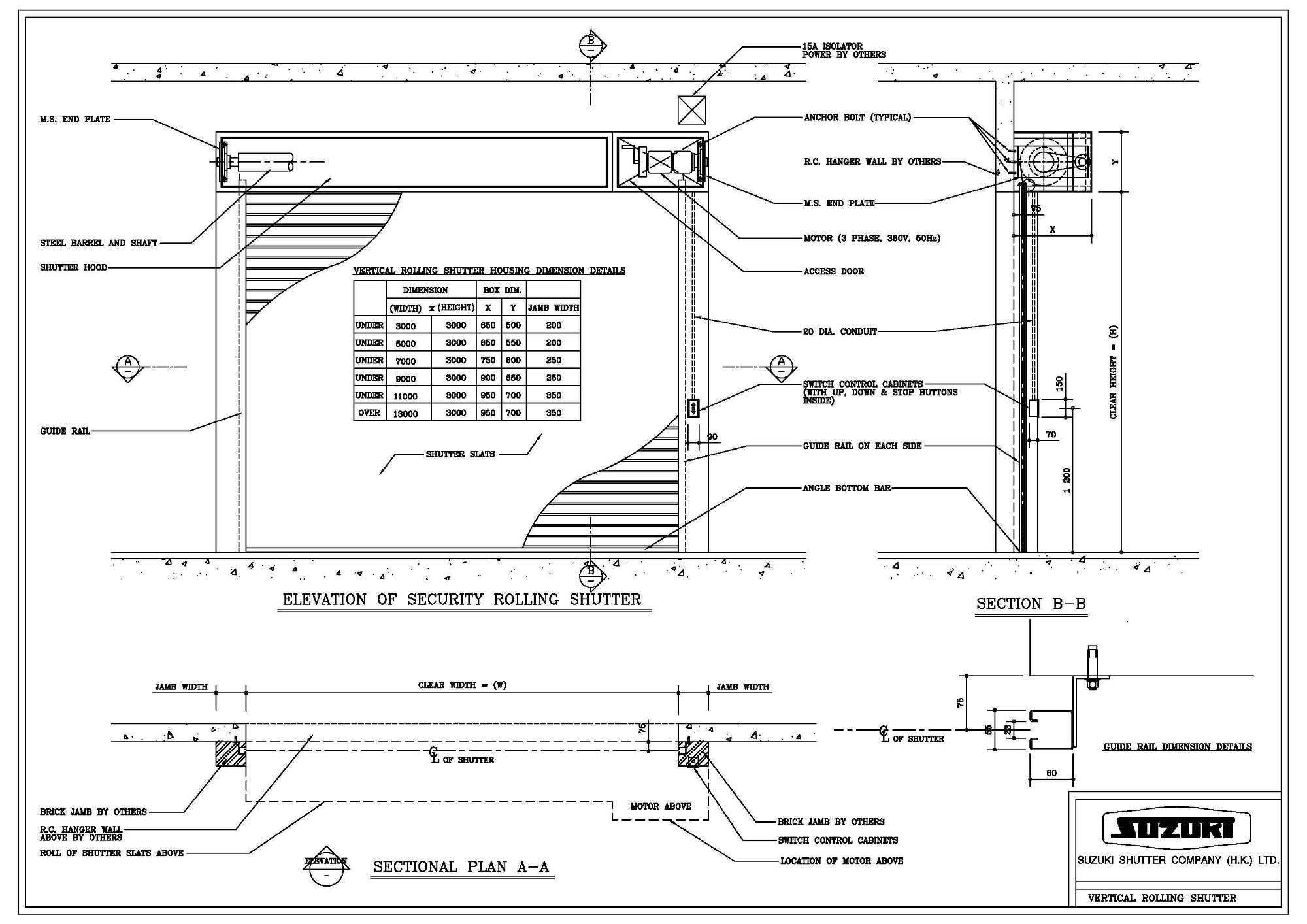 Sliding Door Section Dwg