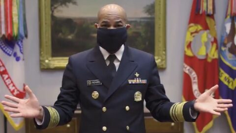 Surgeon General wearing face mask he just made.