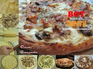 пицца на тонком тесте с грибами и сыром