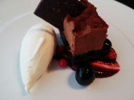 Raspberry Chocolate Mousse, Vanilla Ice Cream, Berry Compote