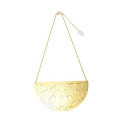 collier grand pendentif plastron geometrique art deco alma vous mademoiselle laiton dore or fin 24 carats