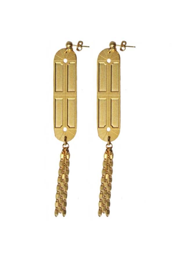 boucles d'oreilles longues pendantes geometrique art deco laiton dore or fin 24 carats alma vous mademoiselle