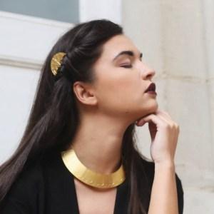 collier plastron geometrique art deco alma vous mademoiselle laiton dore or fin 24 carats